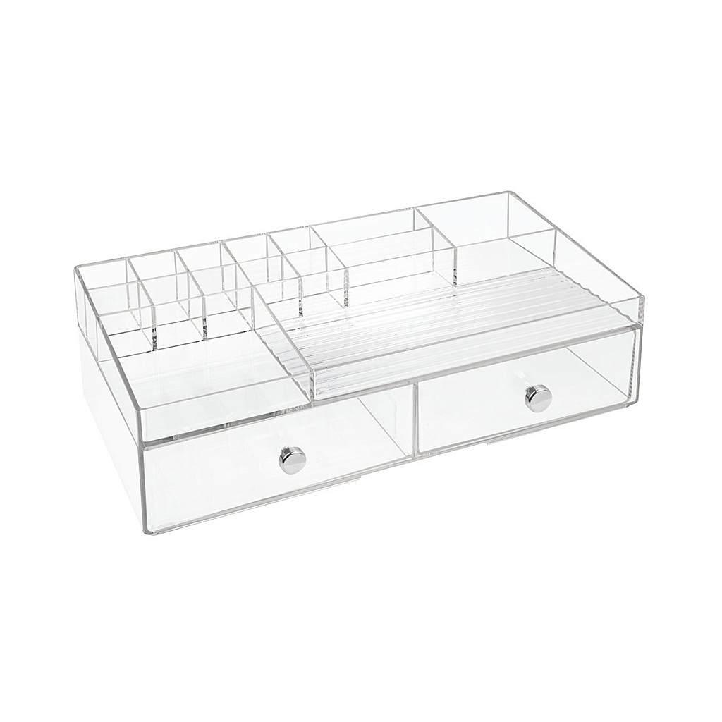 Drawers Cosmetic Organizer, 2 Drawer, Clear