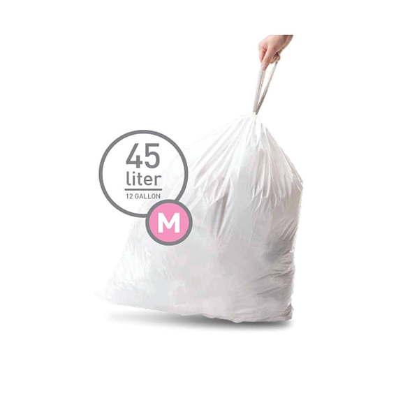 45L Code M Trash Bags, White