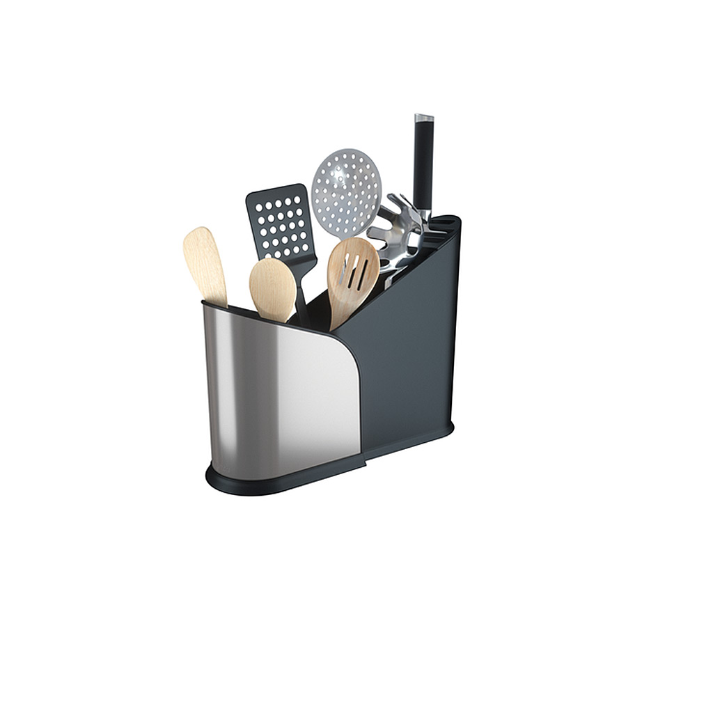 Furlo Expanding Utensil Holder-Black/Nickle