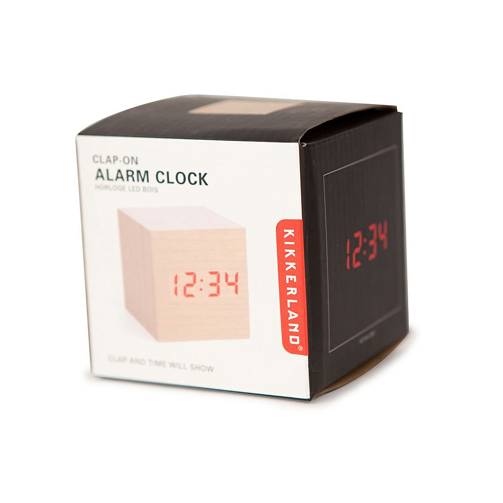 Alarm Clock Wood Cube, Light
