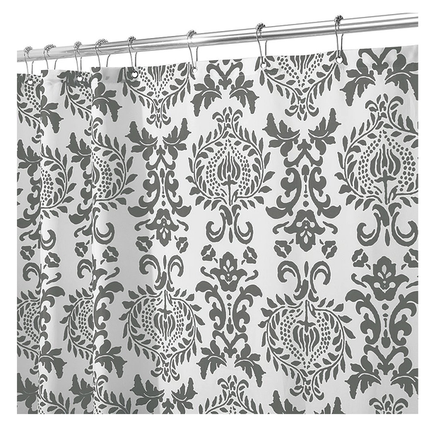 Damask Shower Curtain, Charcoal