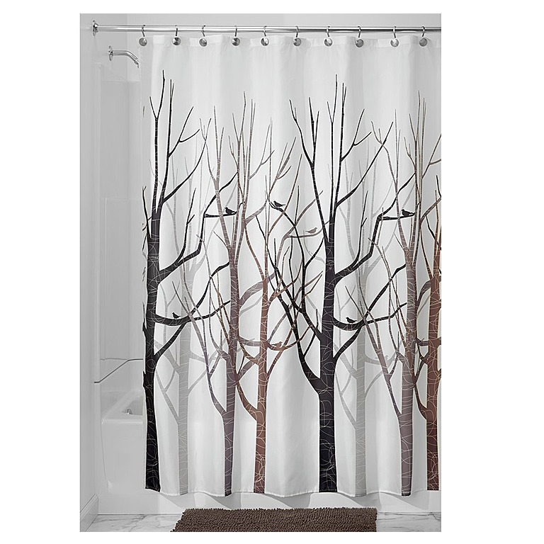 Forest Shower Curtain, Gray/Black