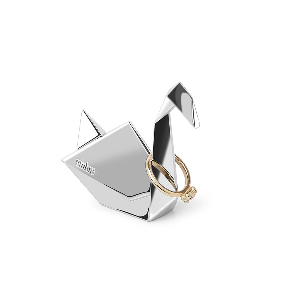 Origami Swan Ring Holder, Chrome