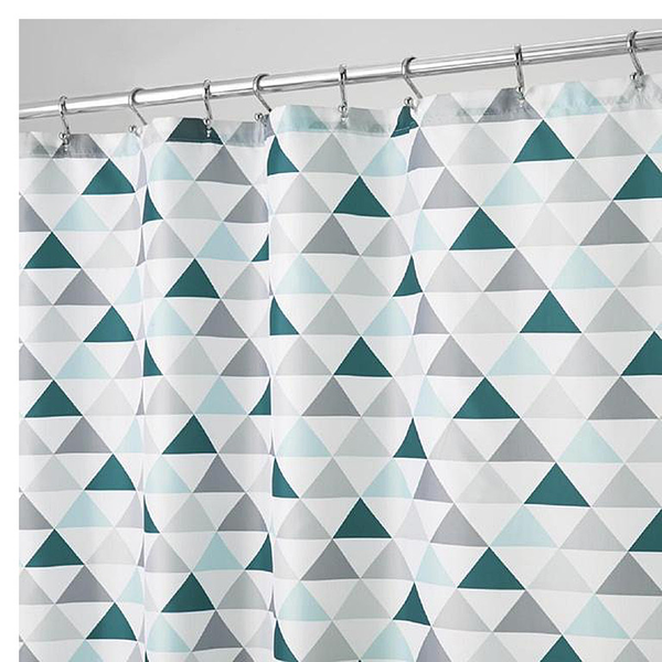 Triangles Shower Curtain, Deep Teal/Mint