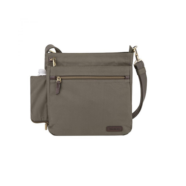 Anti-Theft Courier N/S Crossbody, Stone Grey