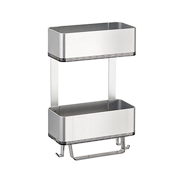 AFFIXX Metro Ultra 2 Tier Shower Caddy, Silver/Smoke