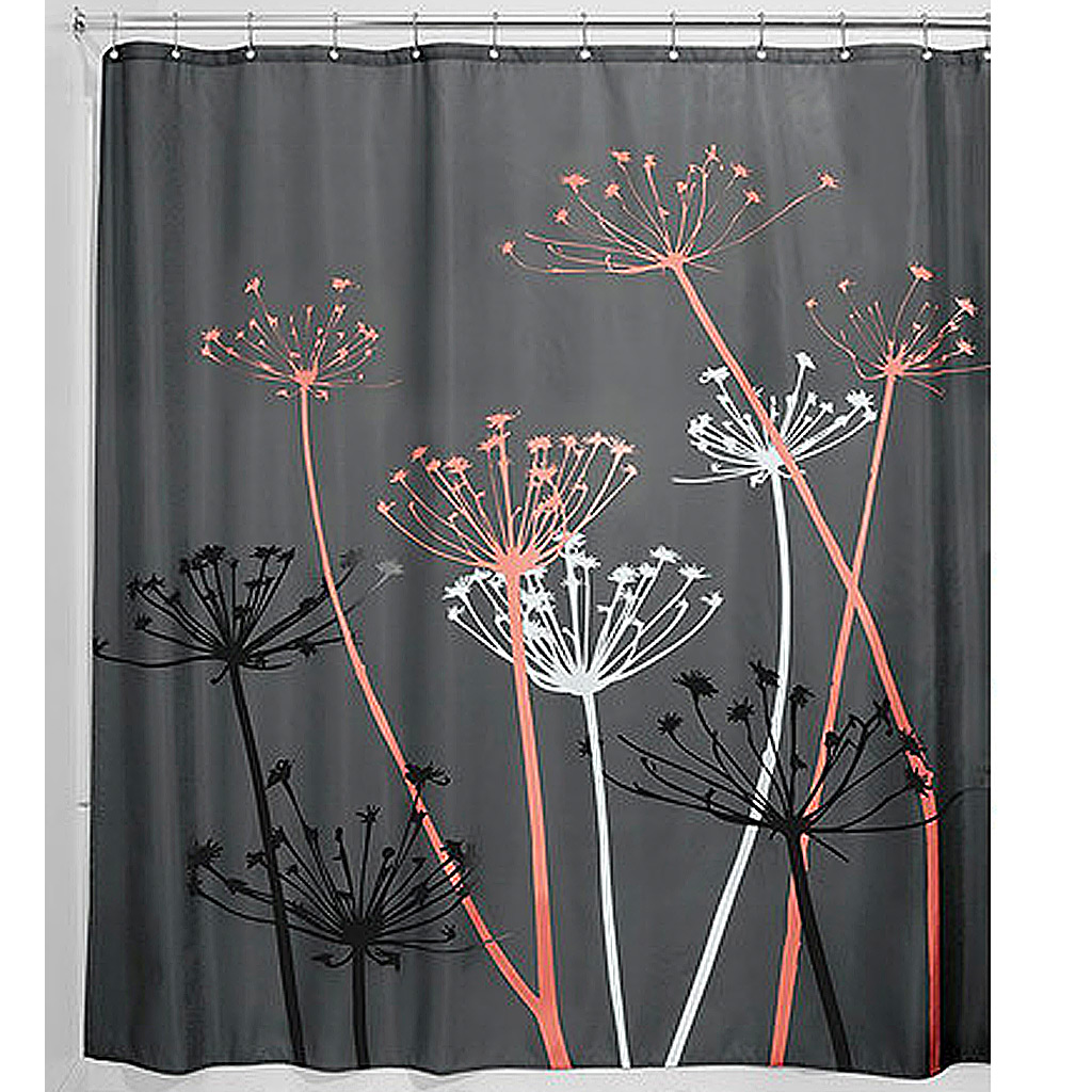 Thistle Shower Curtain, Charcoal