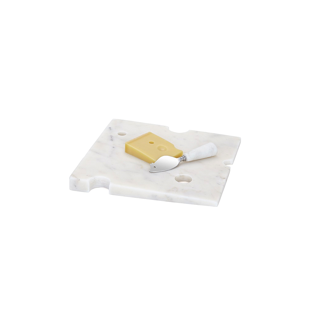 Wedge Marble Cheese Board with Mouse Knife