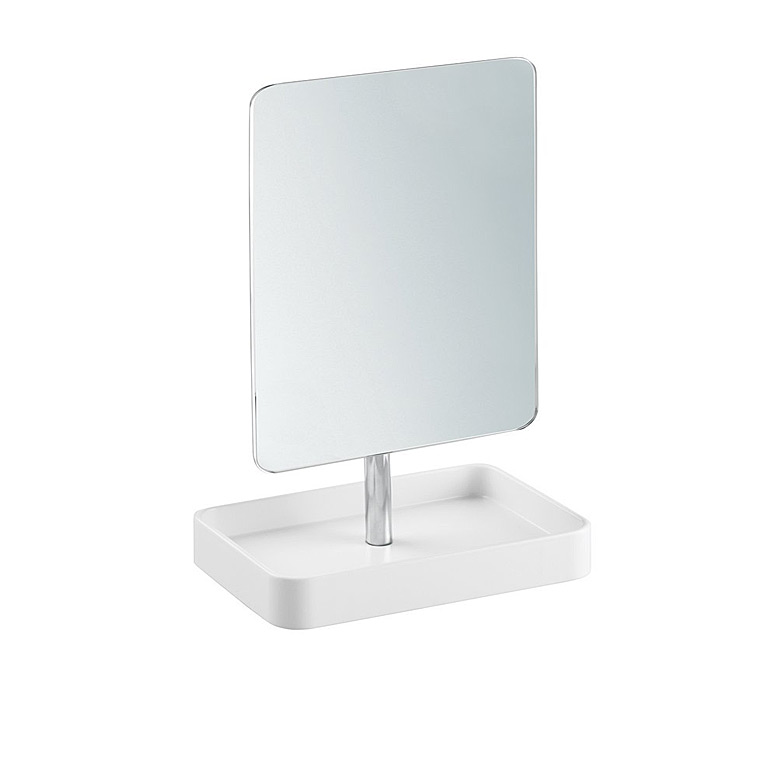 Gia Mirror, White/Chrome