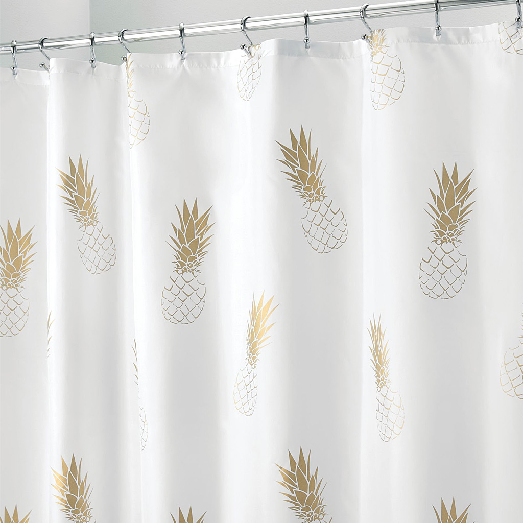 Gold Pinneapple Shower Curtain,