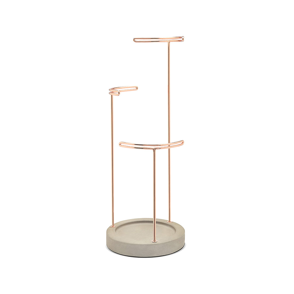 Tesora Jewelry Stand, Concrete/Copper