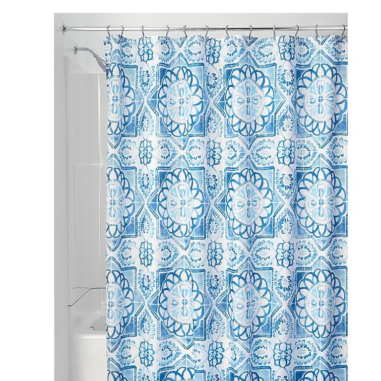 Spanish Tile Shower Curtain, Blue Multi