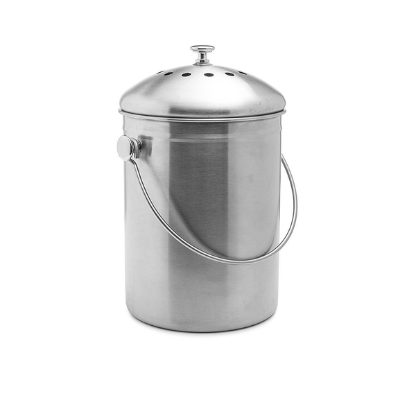 Brushed Stainless Steel Compost Bin