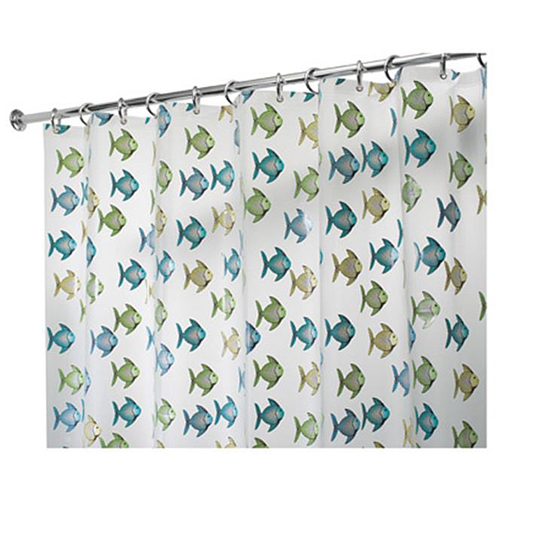 Fishy PEVA Shower Curtain, Blue/Green