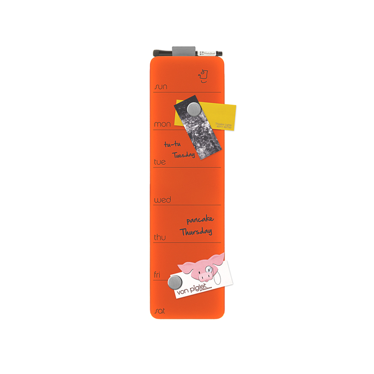 Magnetic Weekly Planner, Orange, Glass Dry Erase