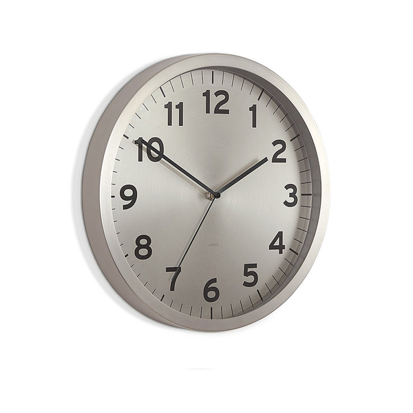 "Anytime Clock  12.5"" -Nickel"