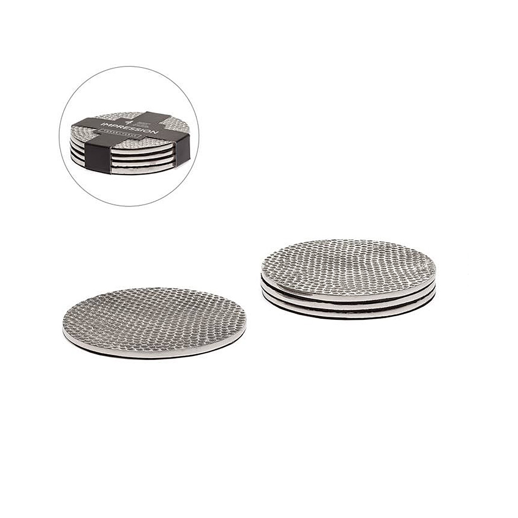 Impression Hammered Aluminum Coasters Set of Four - Silver