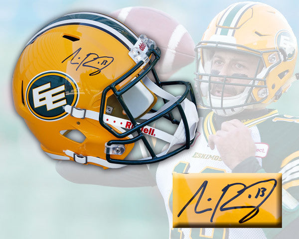 Mike Reilly Edmonton Eskimos Signed Riddell Speed Deluxe Replica Helmet