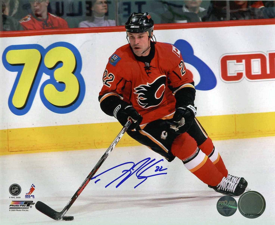 Daymond Langkow - Calgary Flames Red Action Signed 8x10 Photo