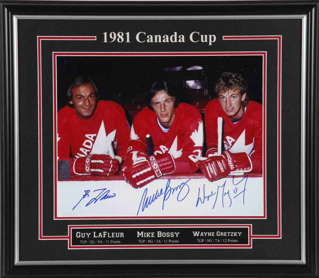 Gretzky, Lafleur, & Bossy Team Canada Triple Signed Framed 8x10 Photo