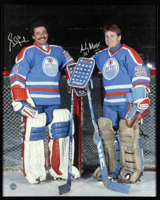 Grant Fuhr & Andy Moog Edmonton Oilers Dual Signed 16x20 Canvas Frame