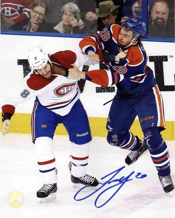 Luke Gazdic Edmonton Oilers Fighting Prust Signed 8x10 Photo