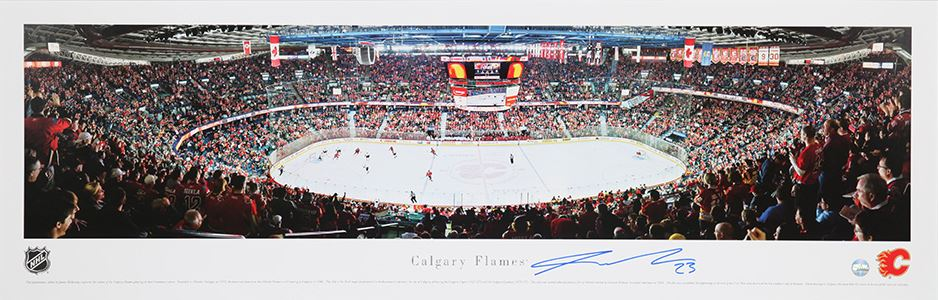 Sean Monahan Calgary Flames Signed Calgary Saddledome Panoramic