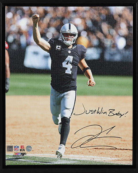 Derek Carr Oakland Raiders Autographed & Inscribed 16x20 Canvas Frame