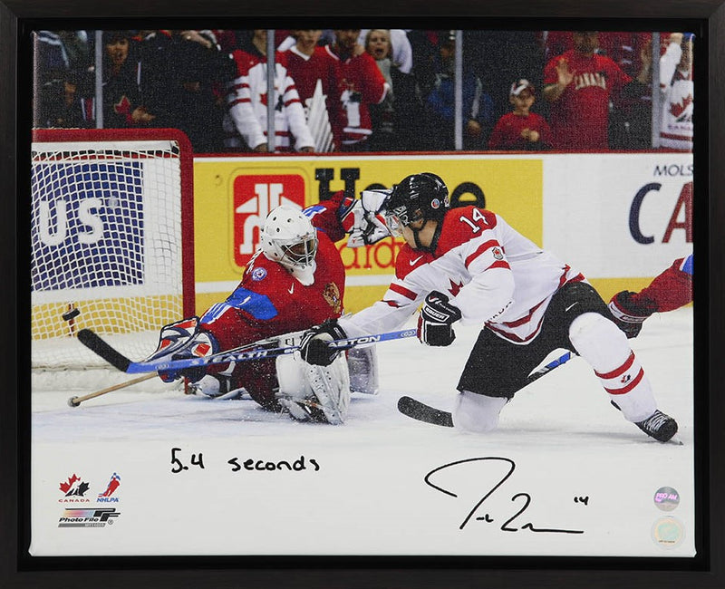 Jordan Eberle Team Canada Autographed & Inscribed 16x20 Canvas Frame