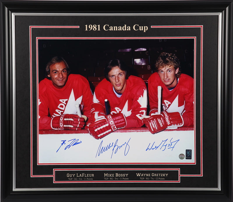 Gretzky, Lafleur, & Bossy Team Canada Triple Signed Framed 16x20 Photo