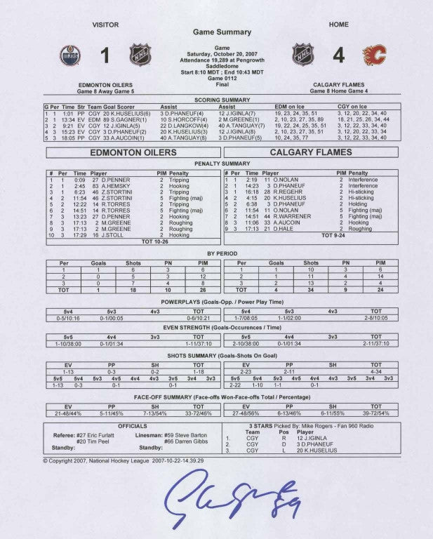 Sam Gagner - Autographed First Goal Game Sheet