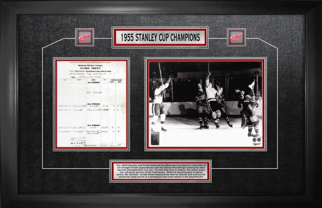 Detroit Red Wings 1955 Stanley Cup Framed Scoresheet Collage
