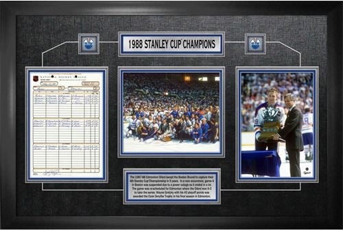 Edmonton Oilers 1988 Stanley Cup Framed Scoresheet Collage