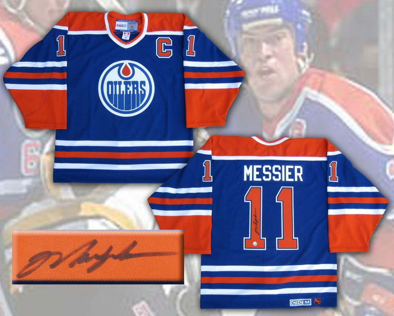 Mark Messier Edmonton Oilers Signed Blue Authentic Pro Jersey