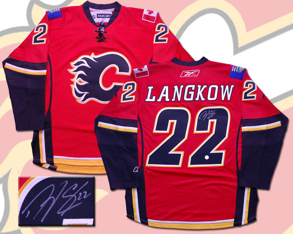 Daymond Langkow Calgary Flames Autographed RBK Replica Jersey