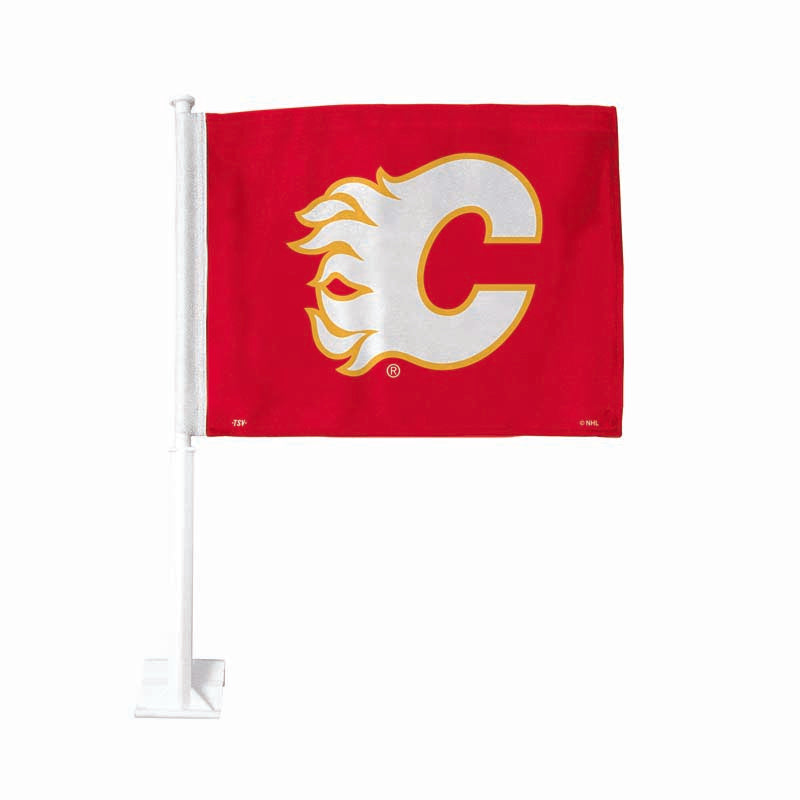 Calgary Flames Retro Red Car Flag
