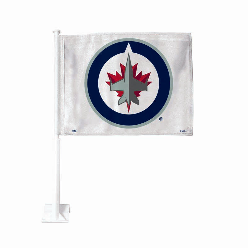 Winnipeg Jets White Car Flag