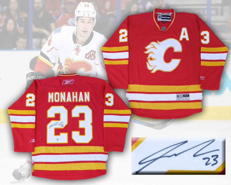 Sean Monahan Calgary Flames Autographed Rbk Replica Third Jersey