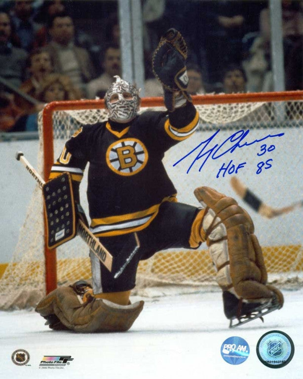 Gerry Cheevers Boston Bruins Signed Glove Save 8x10 Photo