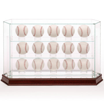 Glass Baseball 15 Ball Display Case