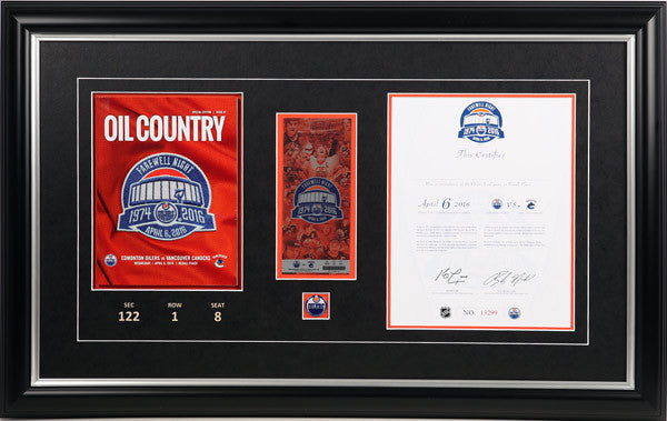 Frame Package for Rexall Place Final Game Program, Certificate & Ticket