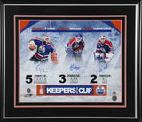 Moog, Fuhr, & Ranford Edmonton Oilers Triple Signed 11x14 Photo