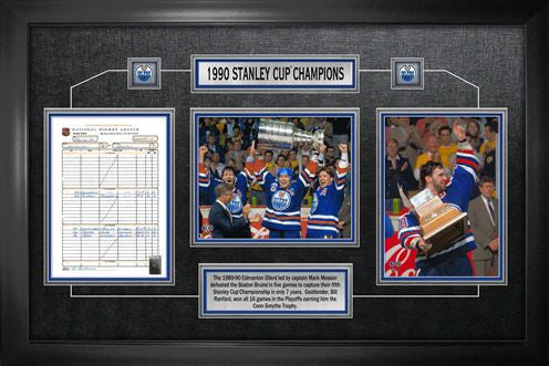 Edmonton Oilers 1990 Stanley Cup Framed Scoresheet Collage