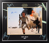 Daisy Ridley as Rey  - Star Wars Running w/Finn & BB8 Signed Framed 16x20
