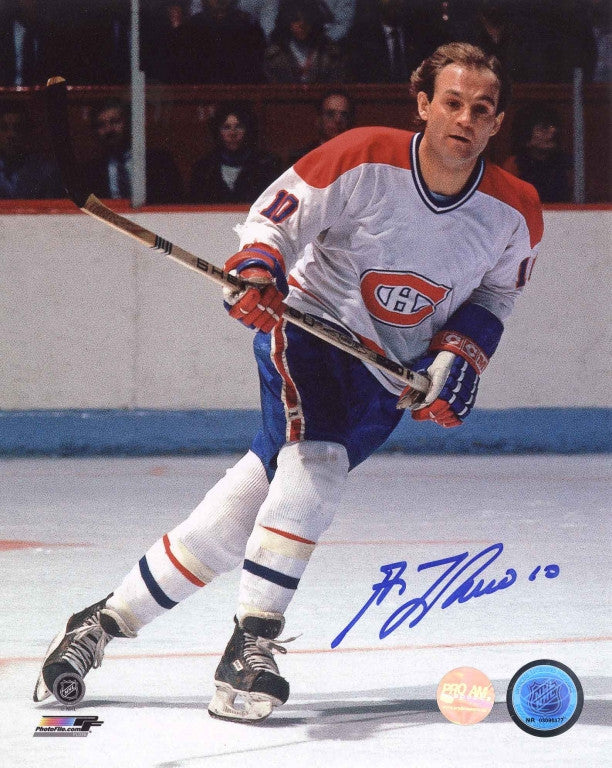 Guy Lafleur Montreal Canadiens White Action Signed 11x14 Photo