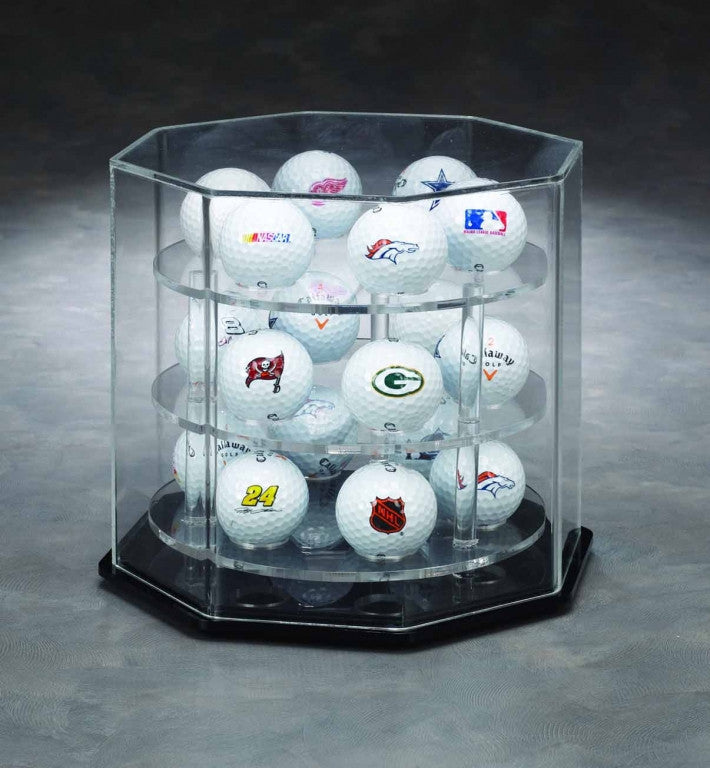 Arcylic Octagon 18 Golf Ball Display case w/ Manual Spinner Base
