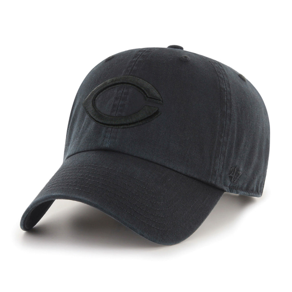 Cincinnati Reds Black on Black '47 Clean Up Cap