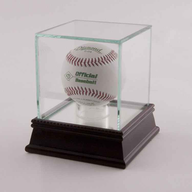 Glass Baseball Display Case with Black Base