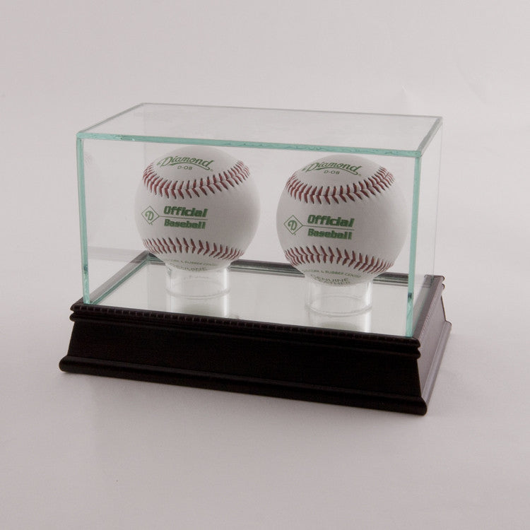 Glass Baseball 2 Ball Display Case With Black Base