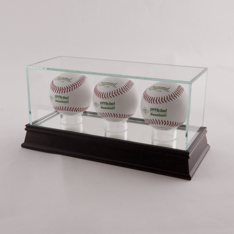 Glass Baseball 3 Ball Display Case with Black Base